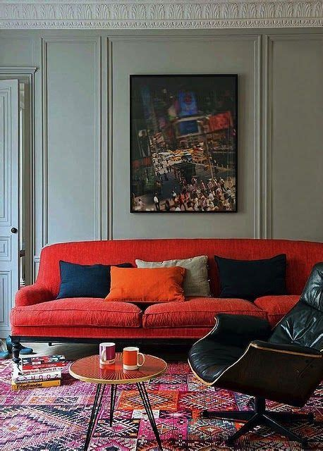 red sofa with grey walls love the colour combination dichotomy traditional meets