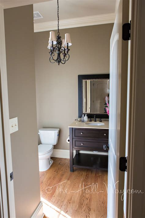 indoor taupe paint colors for interior bathroom powder room reveal the hall way