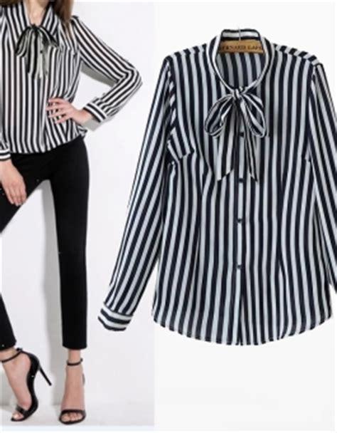 Blouse Bunga Hitam blouse korea garis garis lengan panjang 2016 jual