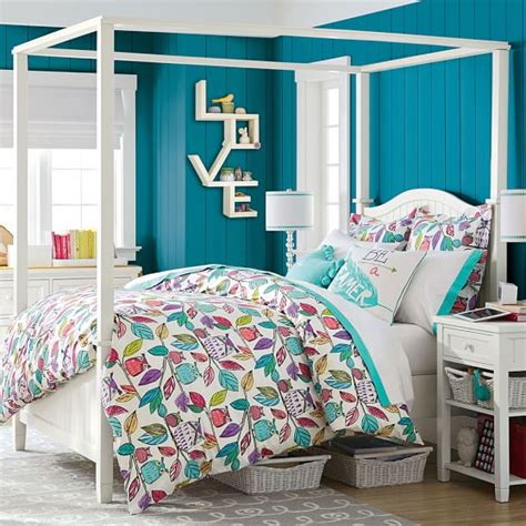 teen canopy bed beadboard canopy bed trundle pbteen