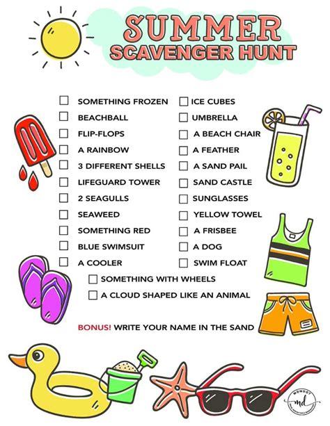 scavenger hunt summer scavenger hunt free printable for