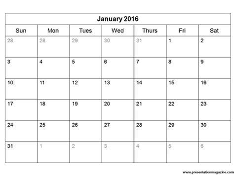 free 2016 printable calendar template sunday start