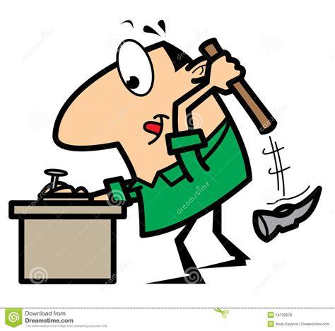 Clipart Vector Of The Carpenter Cartoon Illustration Of cartoon handyman with hammer and nail royalty free stock