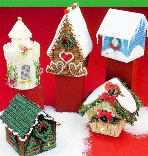vintage plastic canvas christmas birdhouses patterns  instant digital   designs