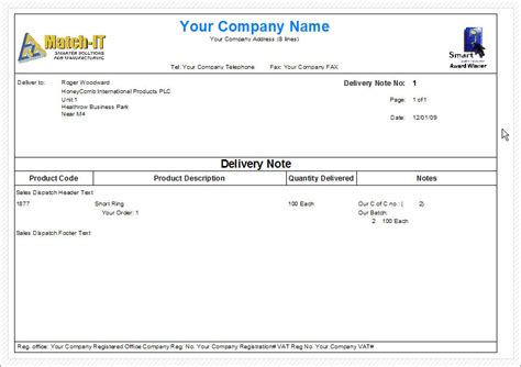 dispatch note template services rendered invoice free