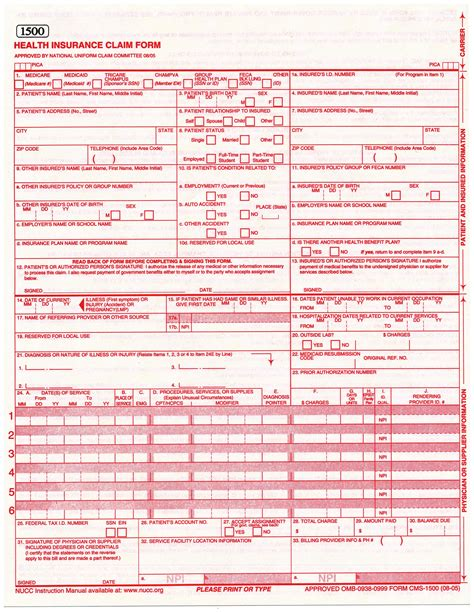 cms template free form hcfa1500 fill printable fillable blank autos