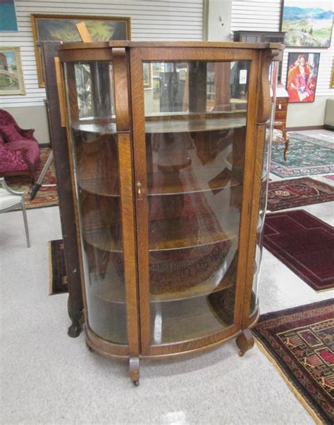 rockford furniture company china cabinet an oak and curved glass china cabinet rockford ch
