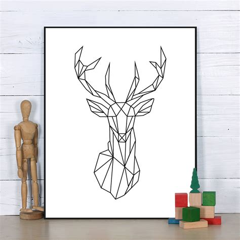 Canvas Decor Deer Geometric geometric deer canvas print poster wall pictures
