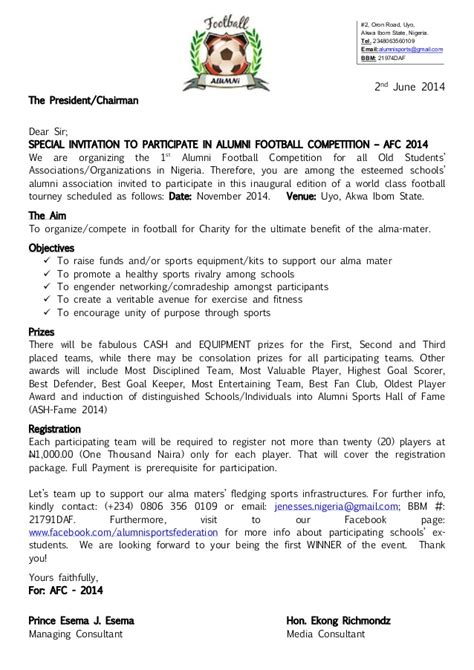 Sponsorship Letter For Jersey Alumni Football Competition Afc 2014 Registration Package Spons