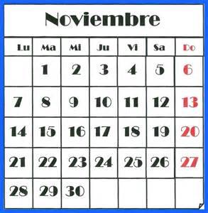 Calendario Noviembre 2016 Almanaque 2016 Oggisioggino S