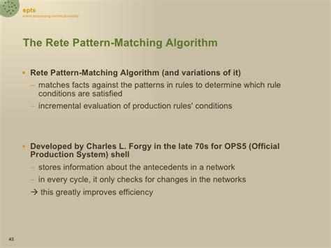 rete pattern matching algorithm debs2009 event processing languages tutorial