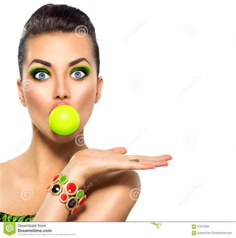 Funny Model  With Green Bubble Of Chewing Gum Stock Photo   Image: 67912299