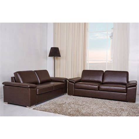 Gold Sparrow Hton 2 Piece Leather Sofa Set In Coffee Gold Leather Sofa