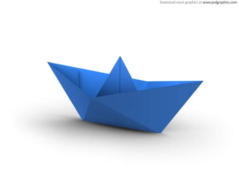 3d Origami Boat - white and blue paper boats psdgraphics