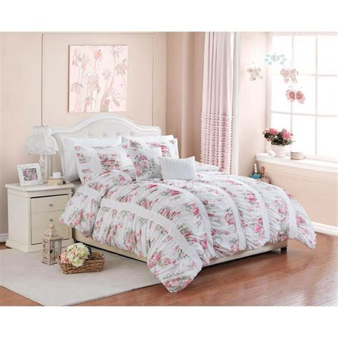 Bedding Sets by 5 Floral Print Ruffle Ruching Vintage Bedding