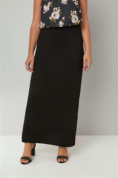 black jersey maxi skirt with elasticated waistband