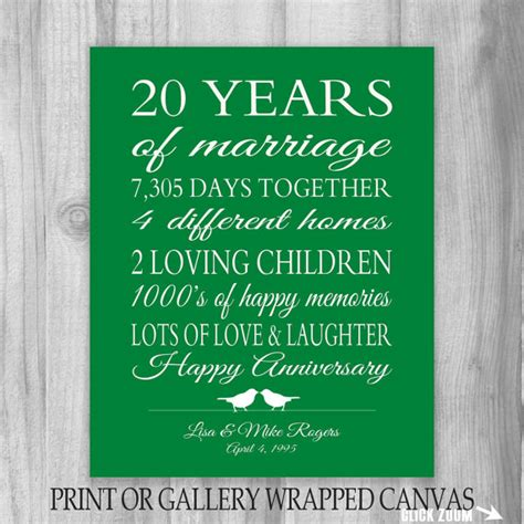 20th anniversary gift 20 year anniversary gift canvas print gift for parents personalized gift