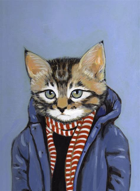 cool cat painting mattoon cats in clothes paintings trendland