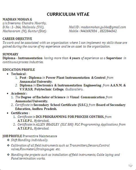 experienced instrumentation engineer resume format resume co best resume sle for post diploma in power plant instrumentation