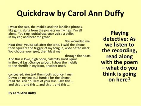 Quickdraw Carol Duffy Essay by Unseen Poetry To Display
