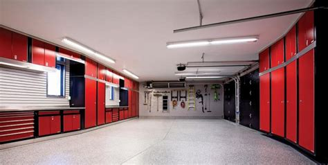 gray epoxy floor large home garage design with and black cabinet white ceiling and mounted