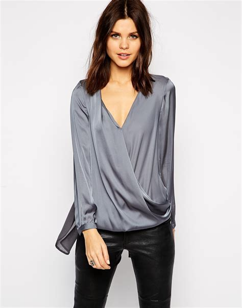 lyst lipsy keegan satin wrap front blouse in gray
