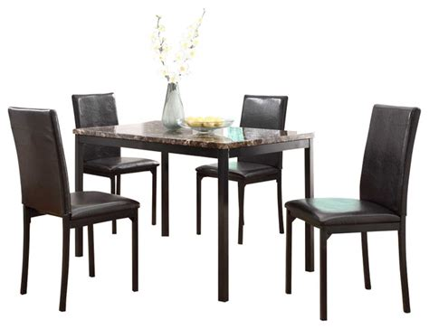 Marble Dining Room Set Homelegance Tempe 5 Faux Marble Top Dining Room Set