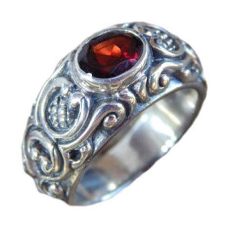 Cincin Perak Jawan Batu Garnet jual jnanacrafts ukiran bali patra batu garnet cincin