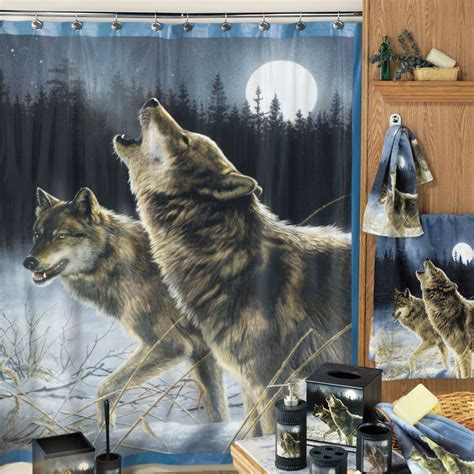 howling wolf shower curtain  hayneedle