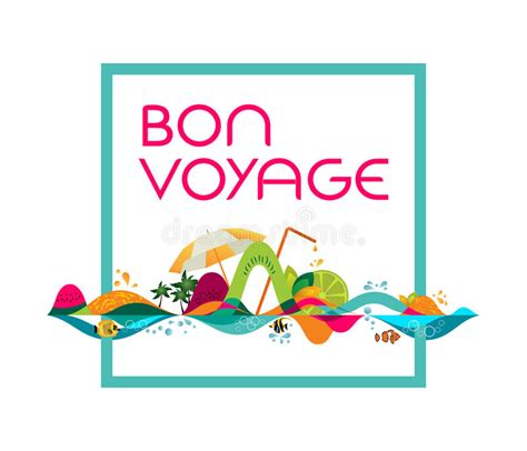bon voyage card template bon voyage banner vector template illustration stock