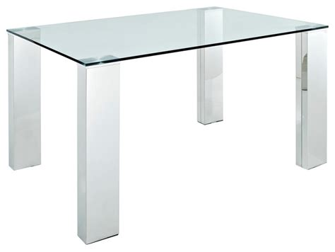 Glass Top Metal Legs Modern Dining Table Staunch Glass Top Dining Table With Stainless Steel Legs Modern Dining Tables By Lexmod