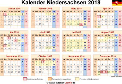 Kalender 2018 Zum Ausdrucken Mit Ferien Niedersachsen Kalender 2018 Niedersachsen Ferien Feiertage Word Vorlagen