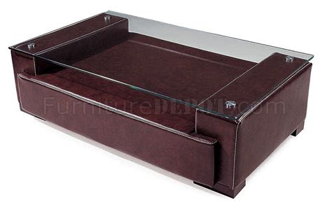 modern coffee table in brown faux leather upholstery