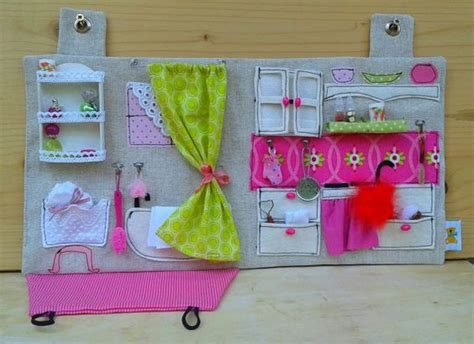fabric doll house made to order sewed dollhouse with miniature accessories travel dollhouse ooak