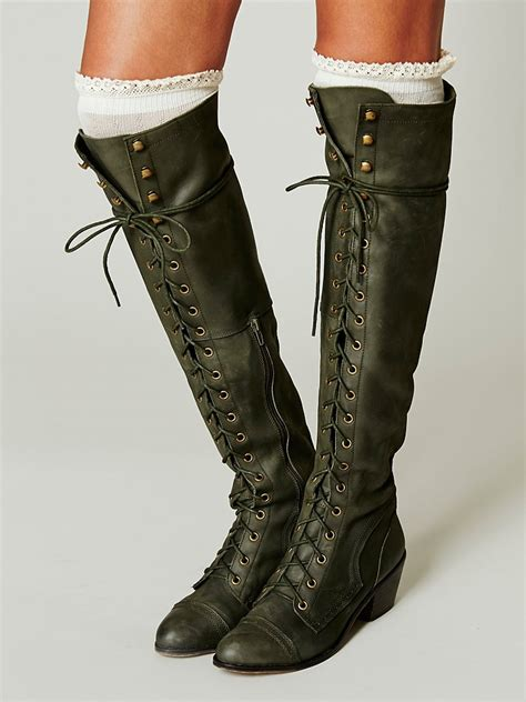 vintage lace up knee high boots flat sport designer purple