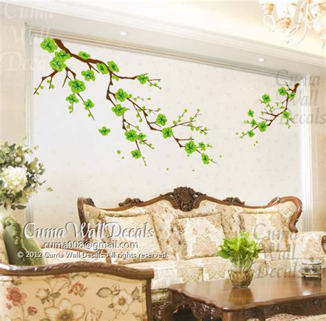 green wall stickers cherry blossom wall decals green flower vinyl mural nature by cuma