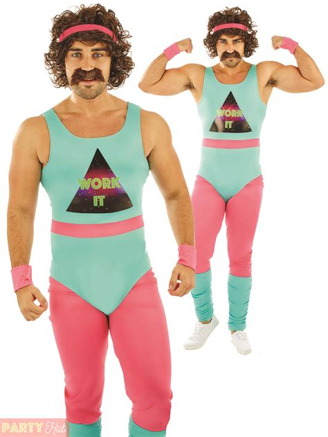 Mens 80s Fitness Instructor Costume Adult 90s Energizer