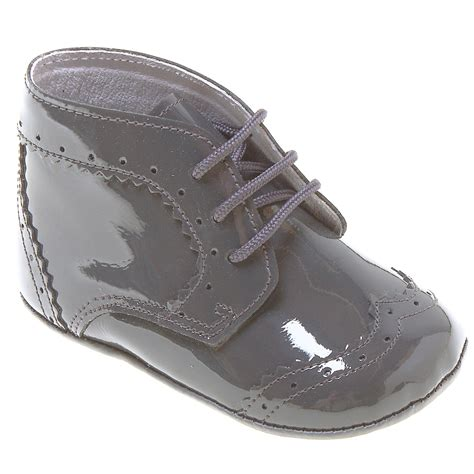 baby boy and shoes baby boys lace up grey shoes in patent leather cachet