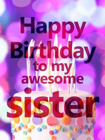 vivid birthday cake card  sister birthday greeting