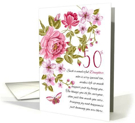 50th Birthday Daughter, Floral Daughter Birthday card