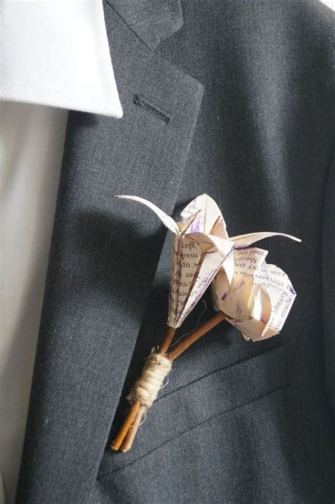 Buttonhole Flower Origami - 10 awesome ways to use origami in your wedding easy