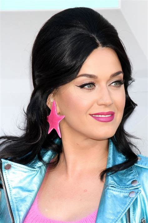 Katy Perry Hairstyle by Katy Perry Wavy Black Bouffant Retro Hairstyle