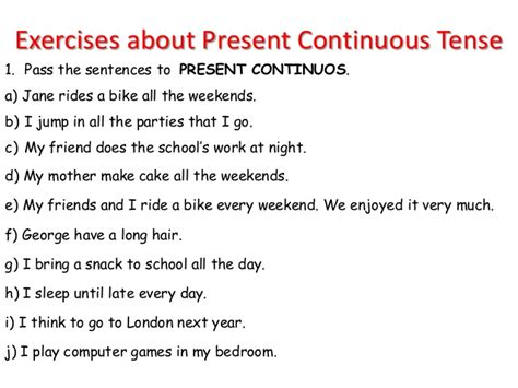 write the pattern of present continuous tense present continuous tense exercises