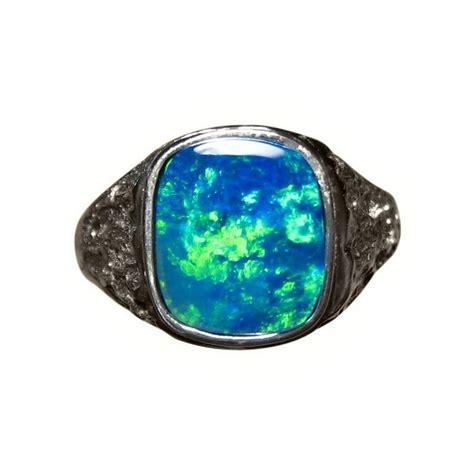 mens blue opal ring 14k gold textured band flashopal