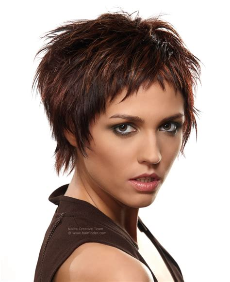 short cut hairstyles images edgy short hairstyle created with various cutting techniques