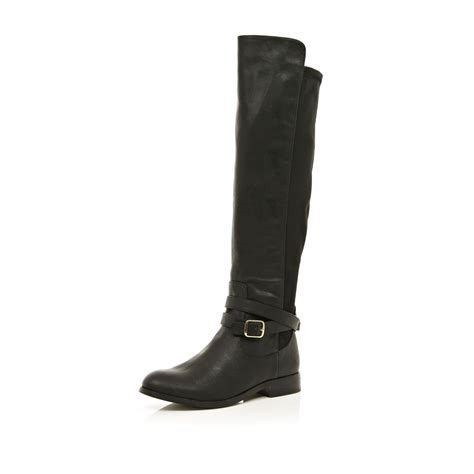 river island black wrap buckle knee high boots in black lyst