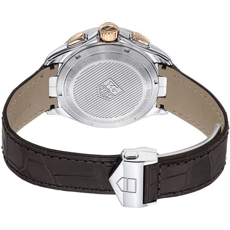 Tagheuer Calibre 16 Rosegold Blue Brown Leather tag heuer link calibre 16 automatic chronograph gents cat2050 fc6322