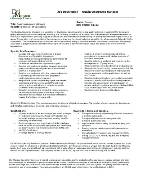 quality assurance manager resume sle