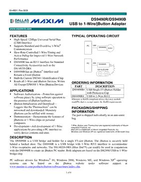 maxim integrated products ibutton ds9490r 데이터시트 pdf maxim integrated products