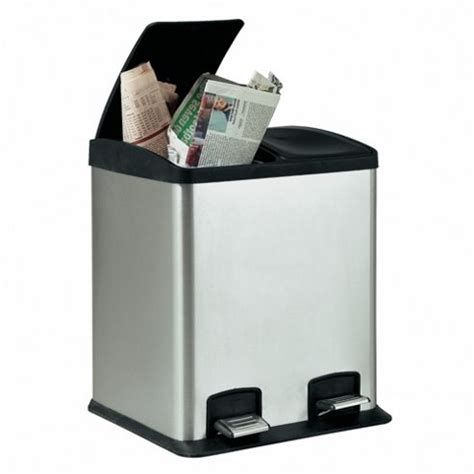 Buy Stainless Steel 24l 2 Section Recycling Pedal Bin From